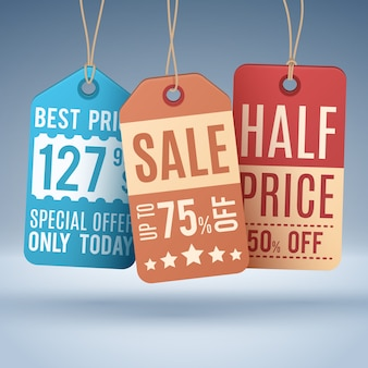Vintage hangende prijskaartjes of verkooplabels. vector het winkelen bevorderingsetiket en markering, half prijs en het concept van de speciale aanbiedingillustratie