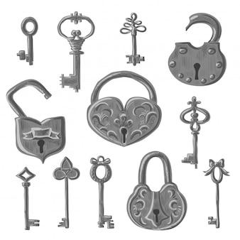 Vintage hangsloten en retro sleutels