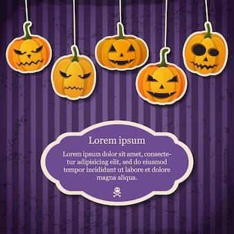Vintage happy halloween feestelijke sjabloon met tekst in frame en papier hangende pompoenen met verschillende emoties