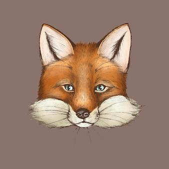 Vintage harige bruine vos gezicht