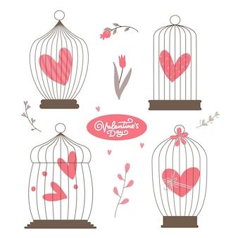 Vintage hart in de vogelkooien geplaatst geïsoleerd