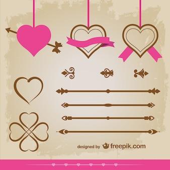 Vintage harten versieringen vector set ontwerp