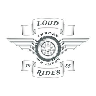 Vintage heraldische motorfiets-logo