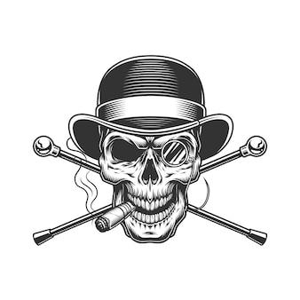 Vintage heren schedel sigaar roken