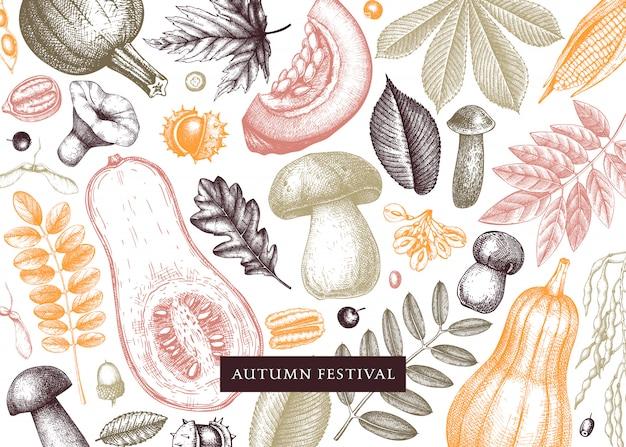 Vintage herfst in kleur. met de hand geschetste herfstbladeren, pompoenen, bessen, paddestoelenillustraties. perfect voor uitnodiging, kaarten, flyers, menu, label, verpakking.