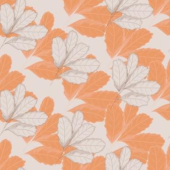 Vintage herfstblad naadloze patroon op lichte achtergrond. boombladeren . herfst bloemen behang.