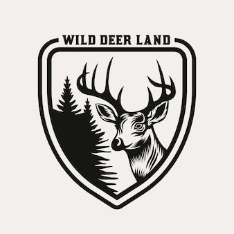 Vintage herten jacht en avontuur embleem badge