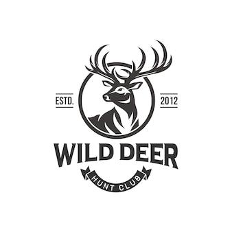 Vintage herten jager logo ontwerp