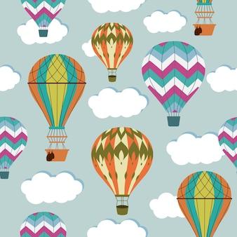 Vintage hete lucht ballonnen naadloze patroon.