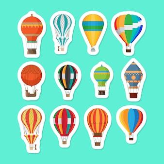 Vintage hete lucht ballonnen stickers instellen