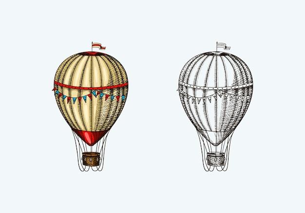 Vintage hete luchtballon retro vliegend luchtschip met decoratieve elementen sjabloon