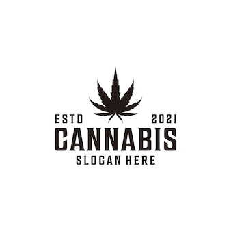 Vintage hipster cannabis natuur silhouet logo ontwerp