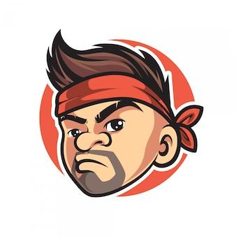 Vintage hipster man mascotte logo