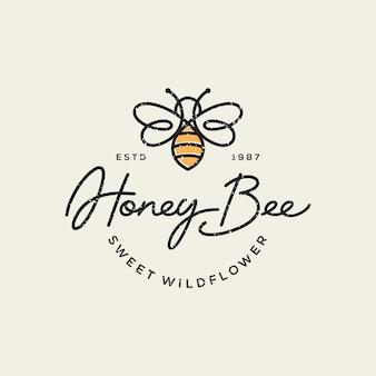 Vintage honingbij logo sjabloon