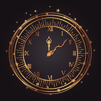 Vintage horloge gouden pictogram