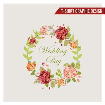 Vintage hortensia bloemen grafisch ontwerp