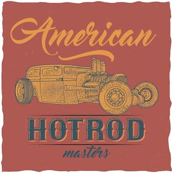 Vintage hot rod t-shirtontwerp met illustratie van aangepaste snelheidsauto.