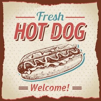 Vintage hotdogs achtergrond Premium Vector
