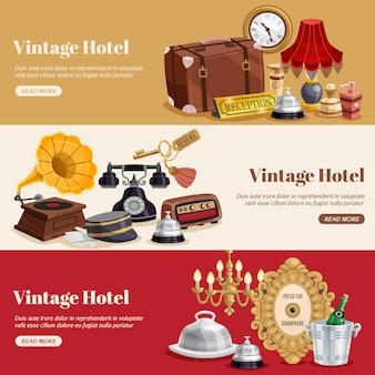 Vintage hotel horizontale banner set
