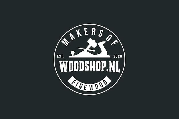 Vintage hout winkel logo ontwerp vintage label