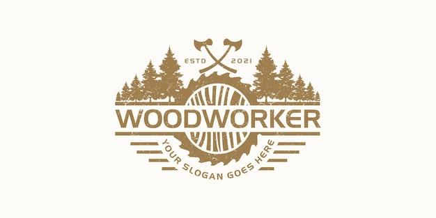 Vintage houtbewerker logo inspiratie.