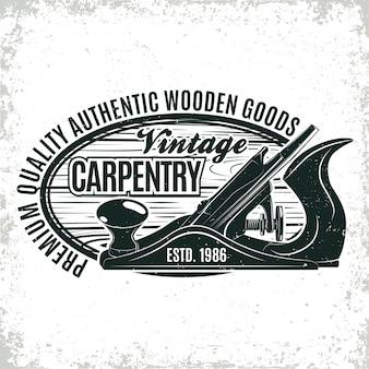 Vintage houtbewerking logo ontwerp