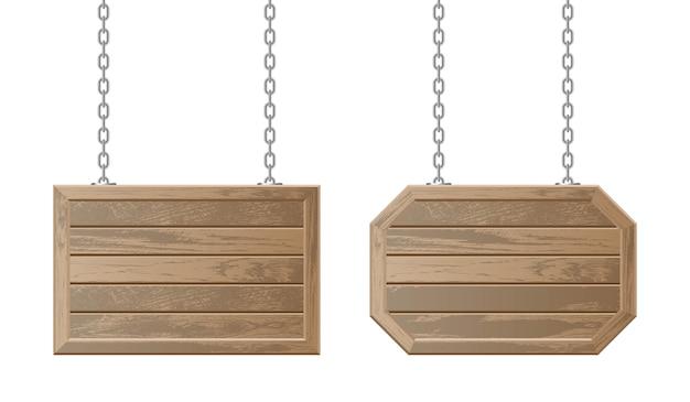 Vintage houten planken die met kettingen hangen