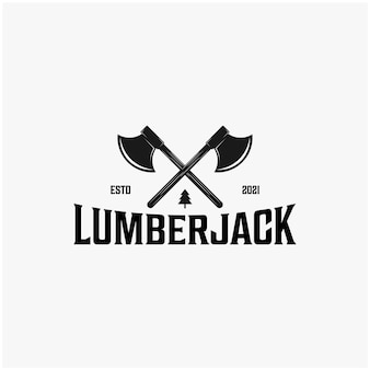 Vintage houthakker logo ontwerp inspiraties