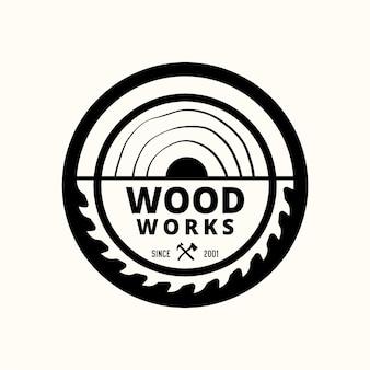 Vintage houtwerk ambachtsman timmerwerk logo sjabloon