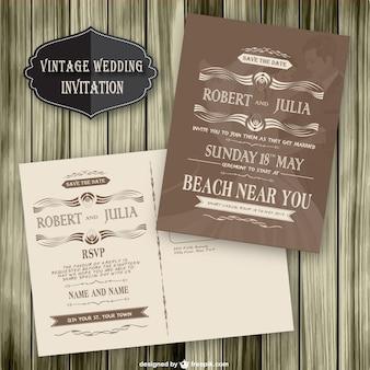 Vintage huwelijksuitnodiging hout sjabloon