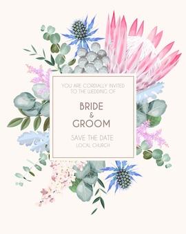 Vintage huwelijksuitnodiging met hoge gedetailleerde bloemen en gebladerte