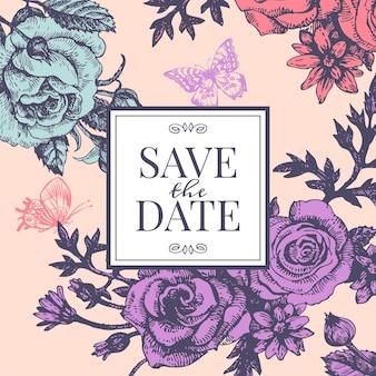 Vintage huwelijksuitnodiging met roze bloemen. bewaar het datumontwerp. hand getrokken schets vectorillustratie