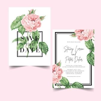 Vintage huwelijksuitnodigingen van roze rozen die bloeien
