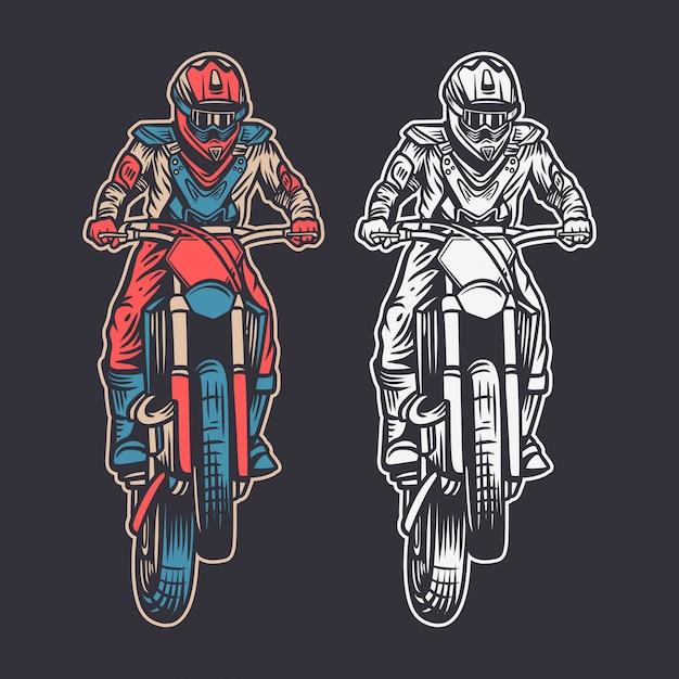 Vintage illustratie motorcross vooraanzicht