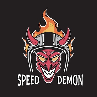 Vintage illustratie van een duivel die lacht met een brandende helm op zwarte achtergrond