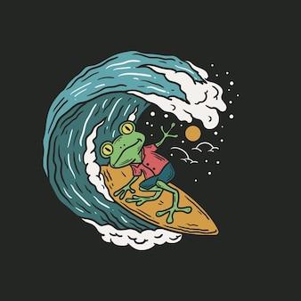 Vintage illustratie van een kikker die op de golven surft op een zwarte achtergrond