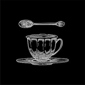 Vintage illustratie van een theekopje en een theelepel