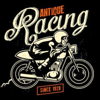Vintage illustratie van man rit café racer in oude structuurstijl