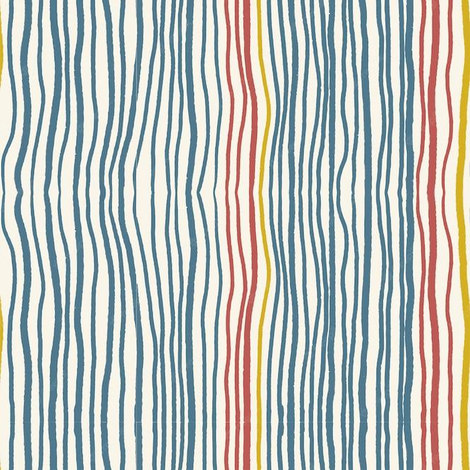 Vintage indigo blauwe en rode vervormde verticale lijn strip golfpatroon naadloos op lichte crème achtergrond.