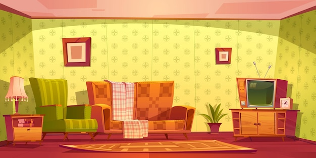 Vintage interieur van woonkamer met bank, fauteuil, klok en tv op stand.