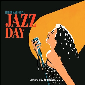 Vintage internationale jazz dag achtergrond