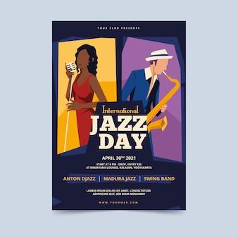 Vintage internationale jazz dag poster sjabloon