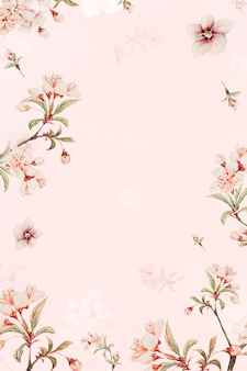 Vintage japanse bloemen frame vector perzik bloesems en hibiscus art print, remix van kunstwerken van megata morikaga