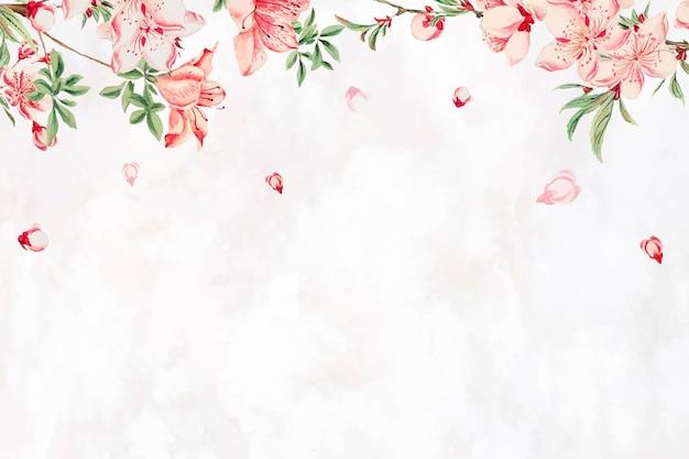 Vintage japanse bloemenrand perzik bloesem kunst print, remix van kunstwerken van megata morikaga