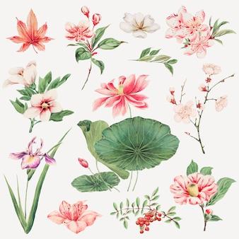 Vintage japanse plant art print, remix van kunstwerken van megata morikaga