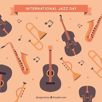 Vintage jazz achtergrond met muziekinstrumenten