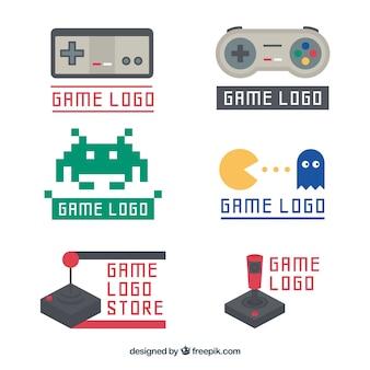 Vintage joystick logo sjabloon collectie