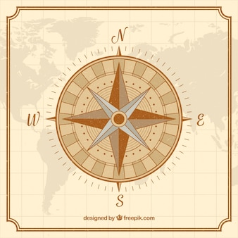 Vintage kaart kompas achtergrond