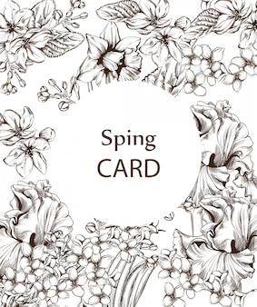 Vintage kaart met bloemen lijntekeningen