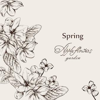 Vintage kaart met bloemen lineart
